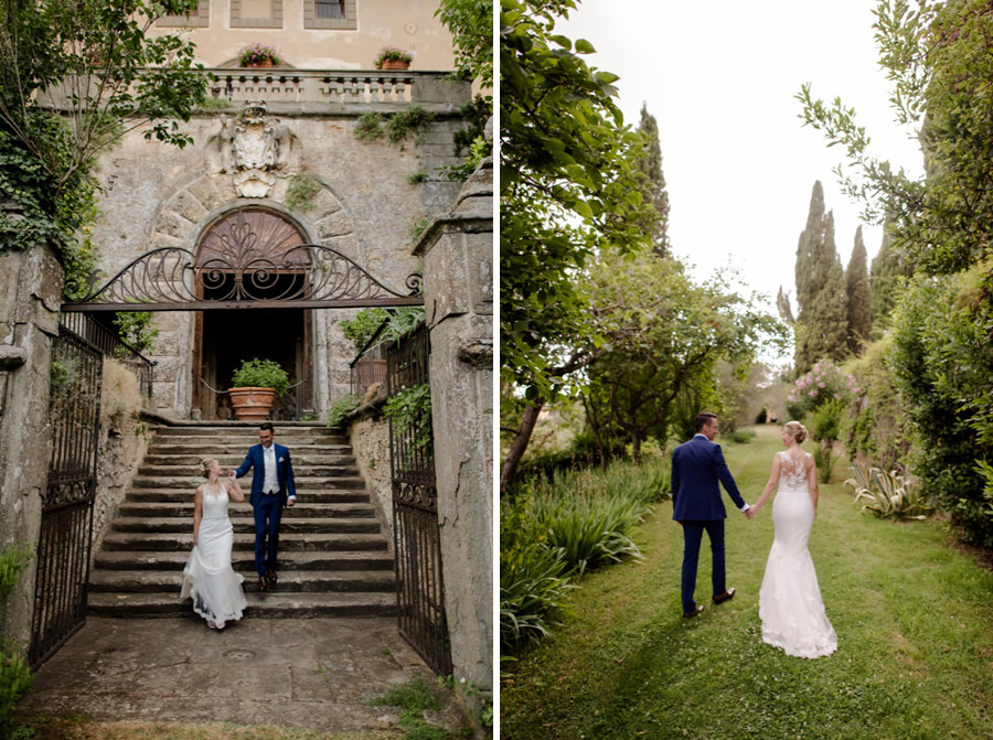 bride and groom walking in the garden at montegufoni castle