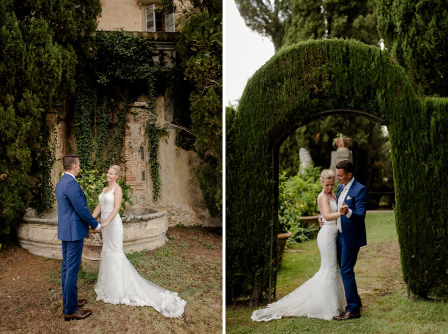 wedding couple dancing in the gardens at montegufoni castle