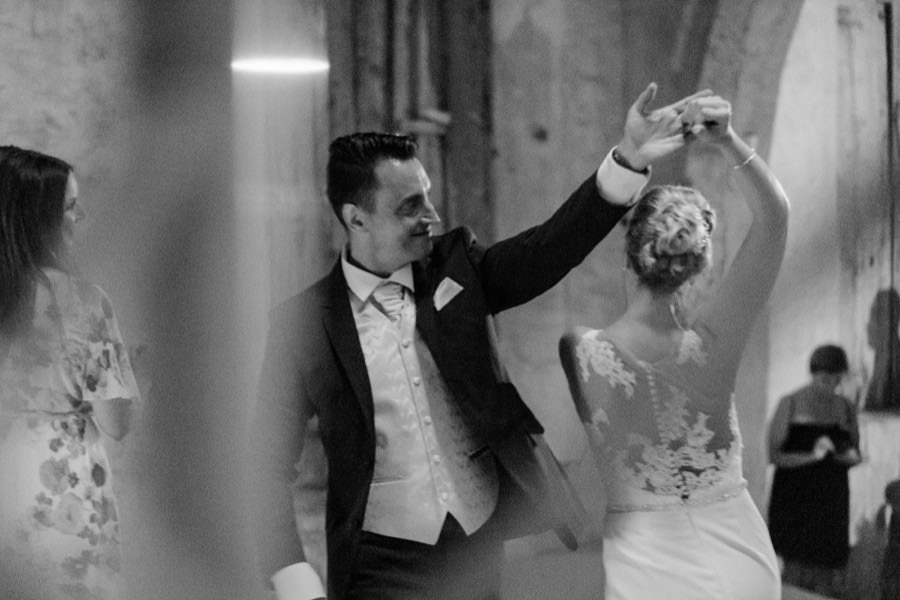 bride and groom first dance black and white