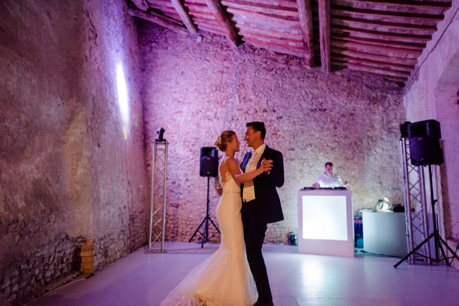 bride and groom first dance at montegufoni castle