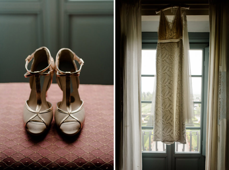 wedding shoes and bridal dress hanged on the top of the window