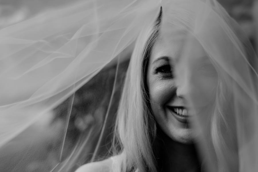 Close portrait of the bride with the veil