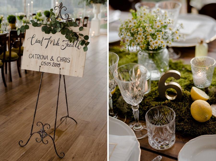 details of wedding table setting