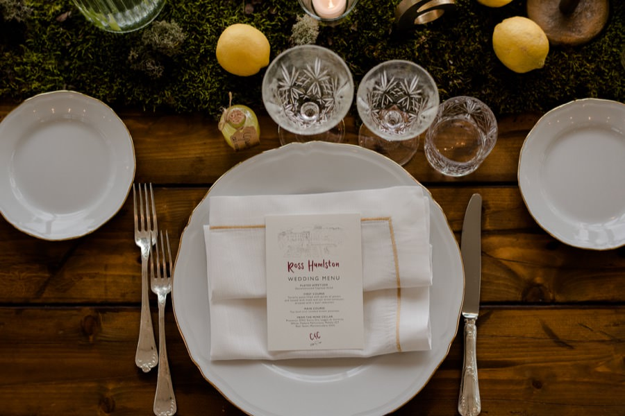 wedding table setting details