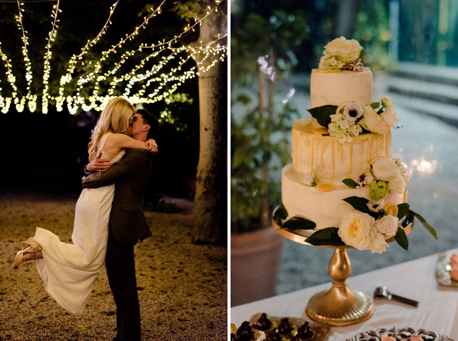 Bride and Groom embracing each other and their wedding cake
