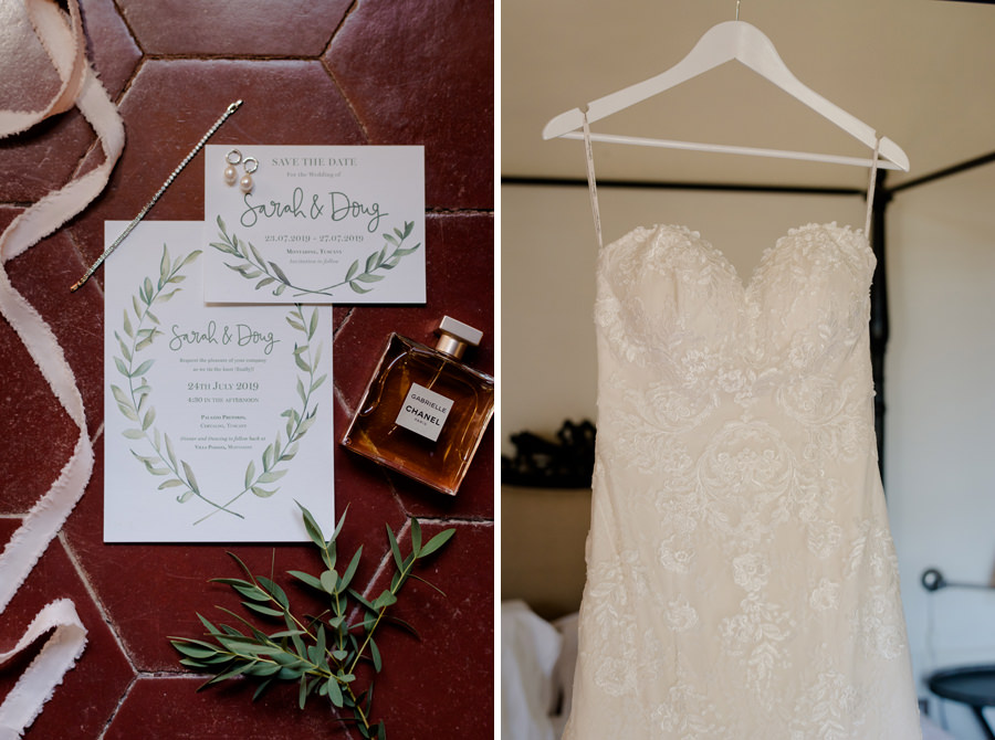 wedding invitation and bridal dress