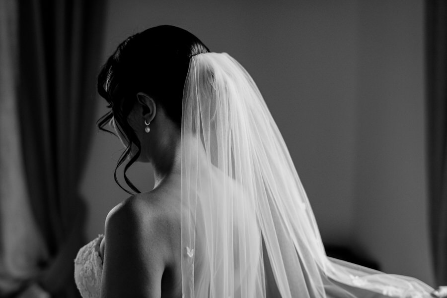 bridal veil black and white photo