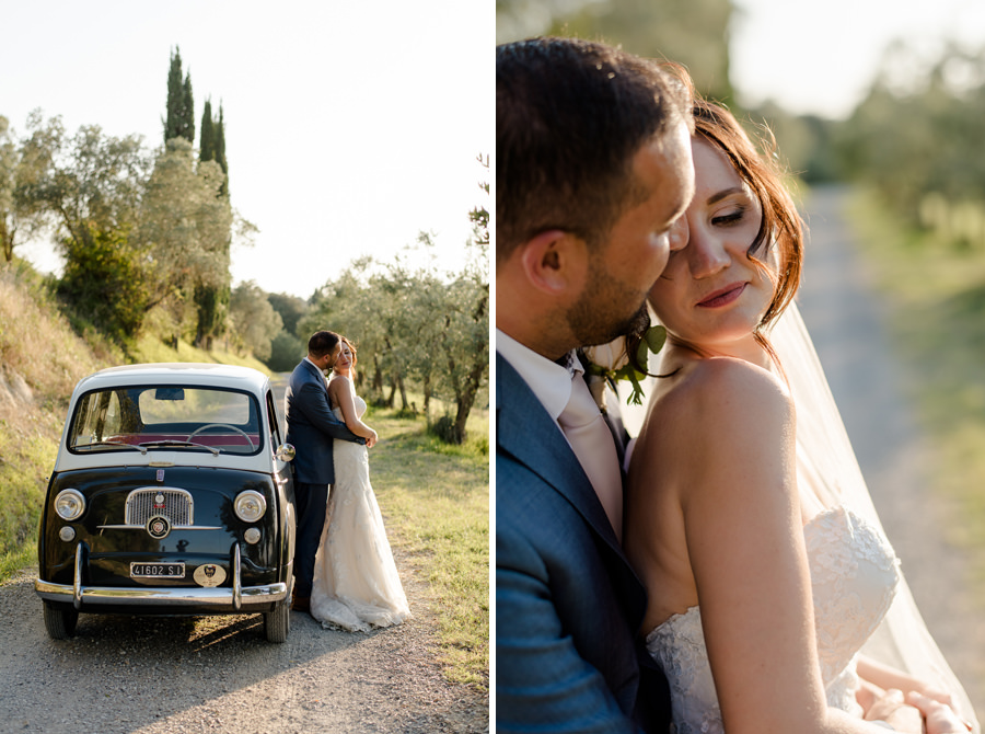wedding couple in the tuscan field