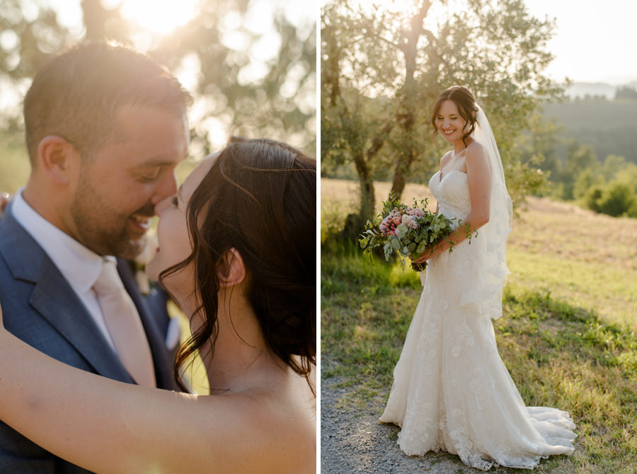 Bride and groom couple portrait in tuscany