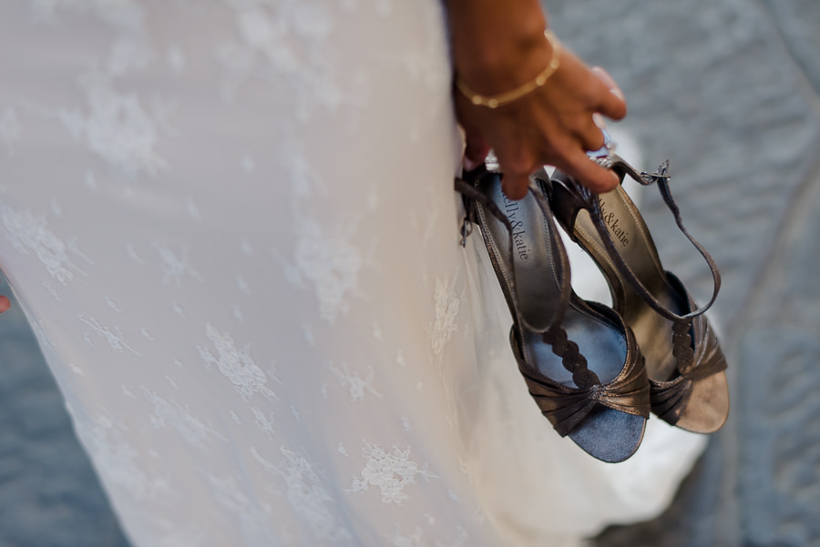 detail of bridal shoes in florence