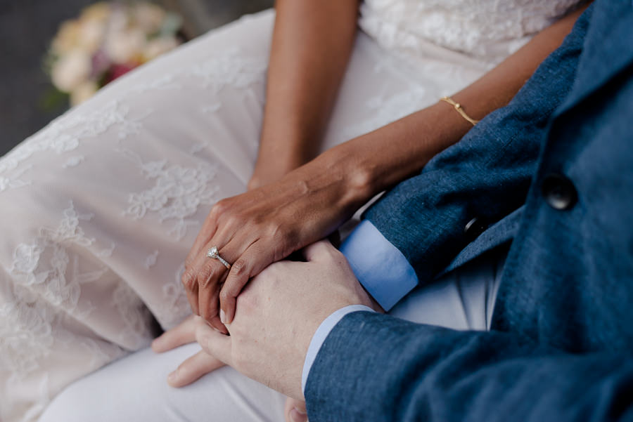 details of hands of bride and groom