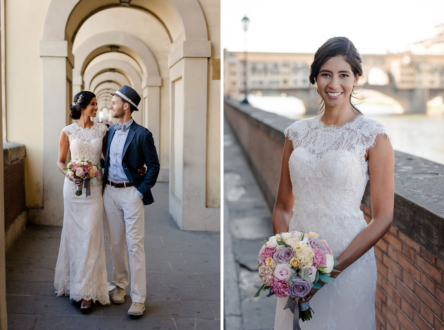 wedding coupls photoshoot in the vasari corridor