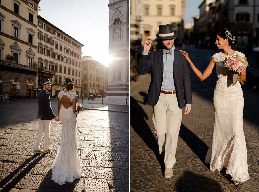bride and groom walking in florence with a warm light