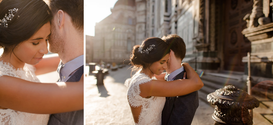 intimate wedding couple in florence