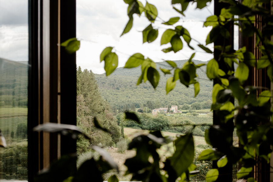 view from the window of borgo stomennano on the tuscan hills
