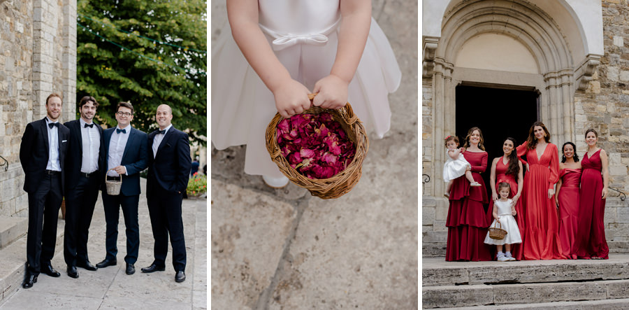 Bridesmaids and groomsmen and flower girl portraits