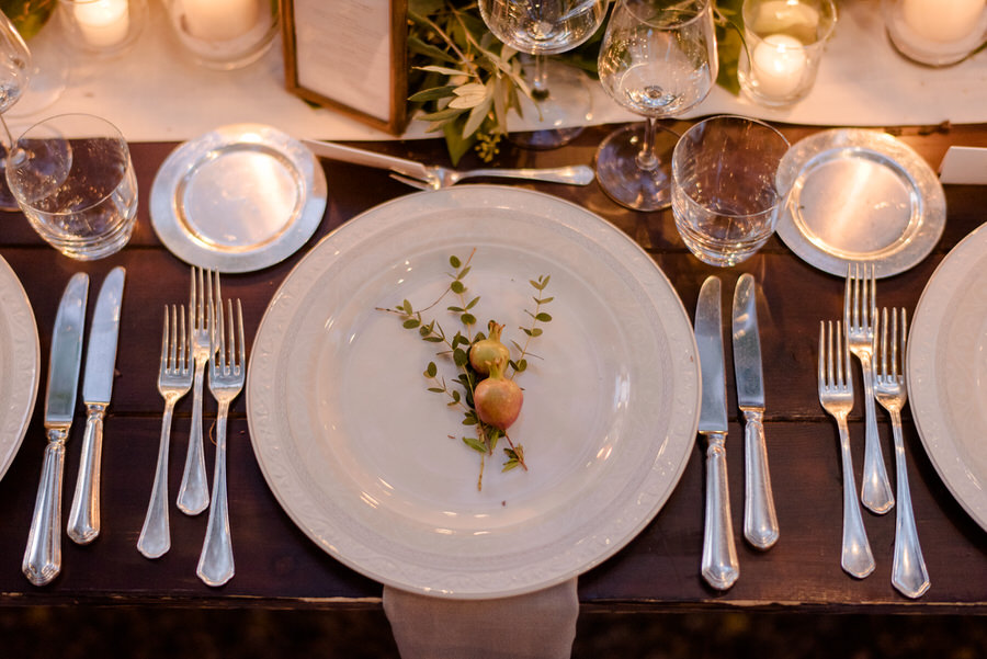 details of wedding table decoration