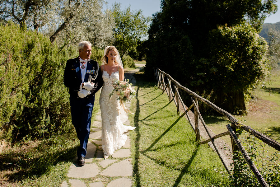 here comes the bride with her father at Borgo i Vicelli Florence