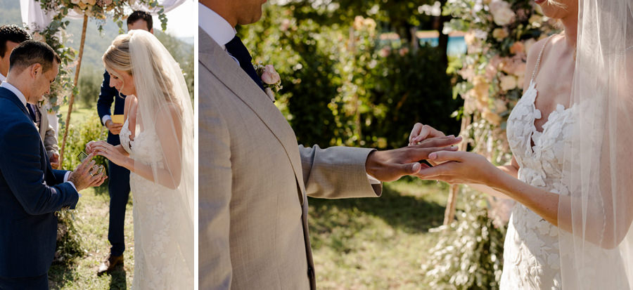 bride and groom exchanging the wedding rings