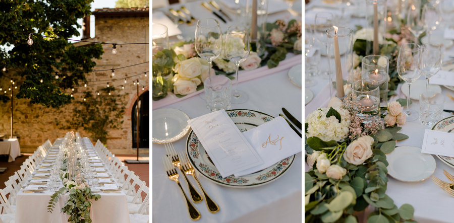 detail decoration of wedding table at Borgo i Vicelli Florence