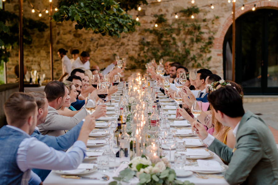 a toast during the wedding dinner at Borgo i Vicelli Florence