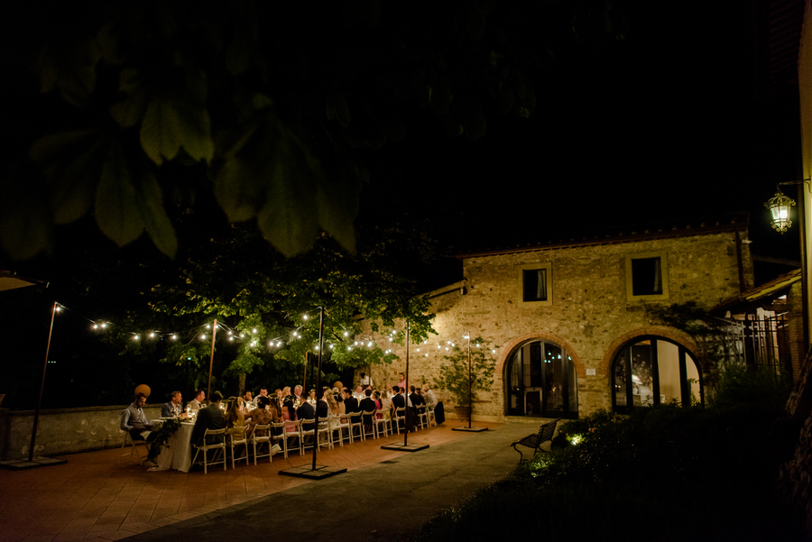 dinner time during the wedding at Borgo i Vicelli Florence