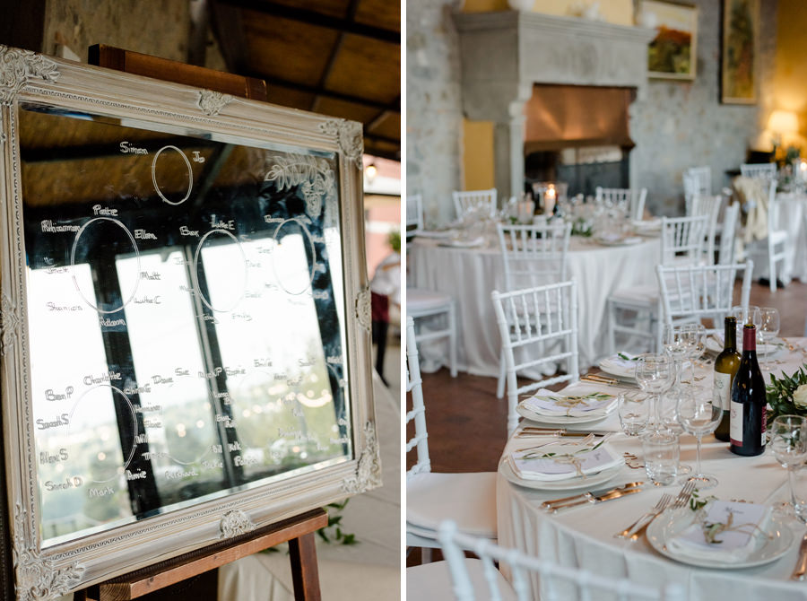 wedding seating plan and reception in tuscany