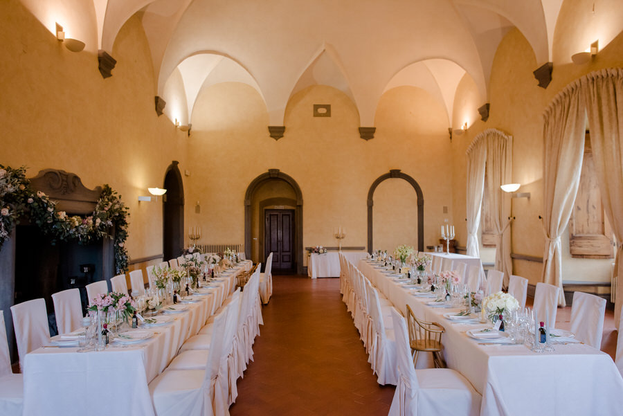 wedding reception in tuscany two long tables