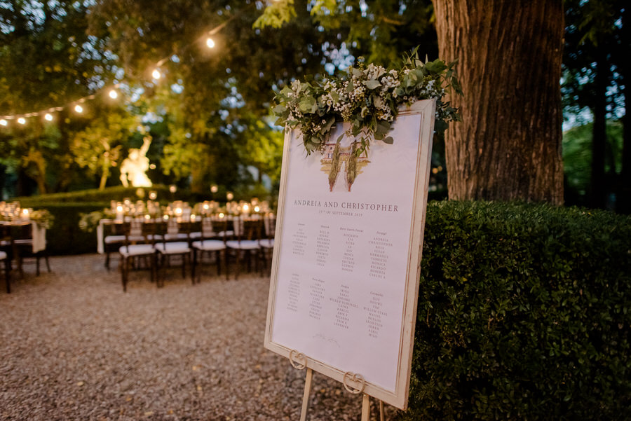 wedding seating plan tuscany night