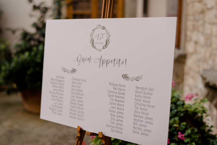 wedding seating plan in tuscany