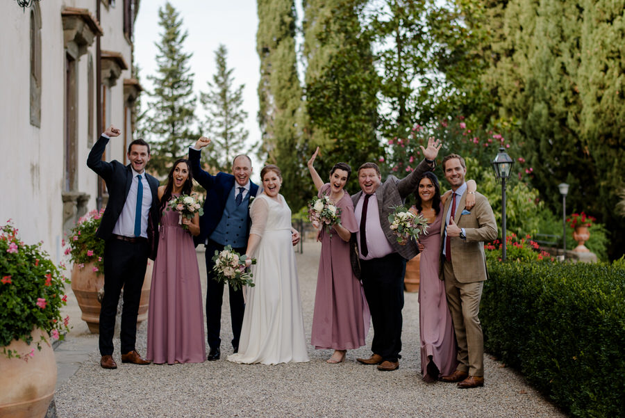 group photo wedding bridal party