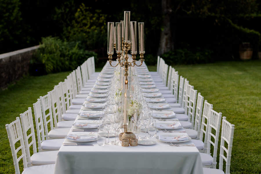chic wedding style table setting in tuscany