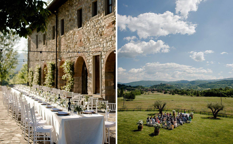 wedding ceremony setting and dinner setting in tuscany