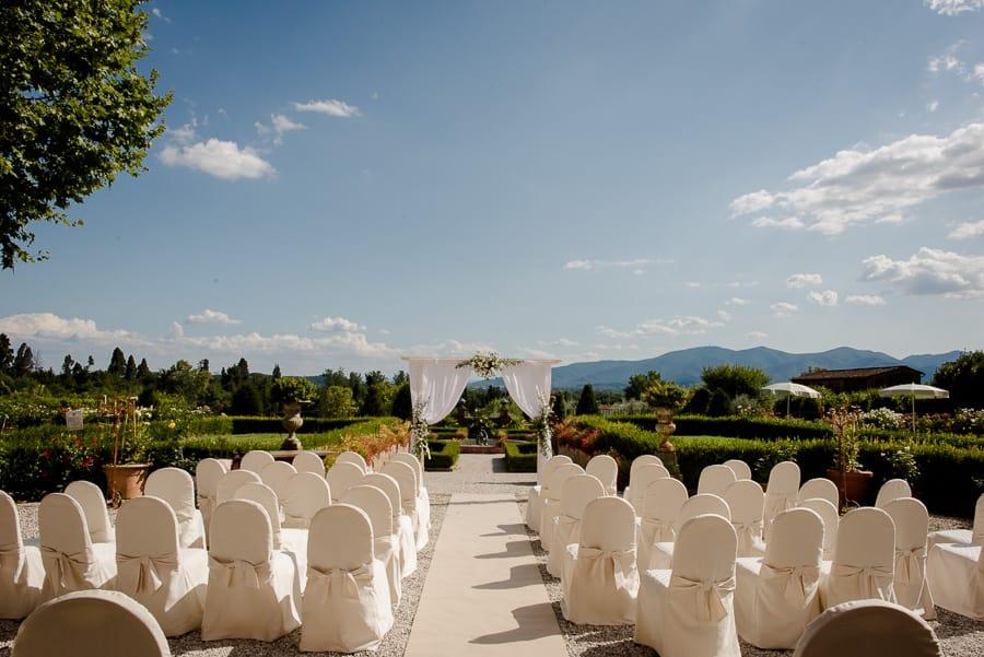 Ceremony setup in garden in tuscany