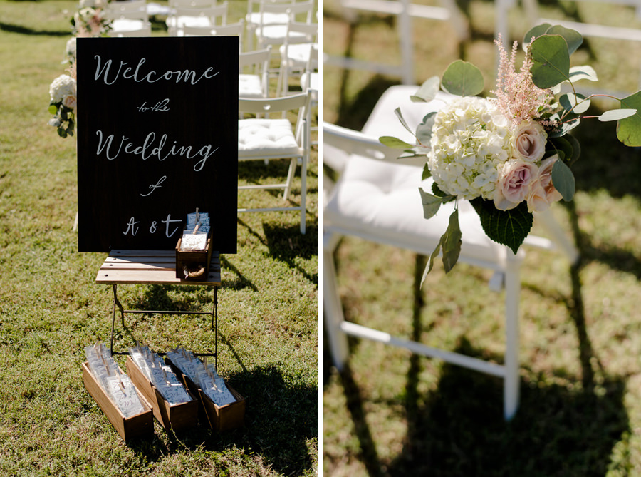 details of a wedding ceremony in a garden in tuscany