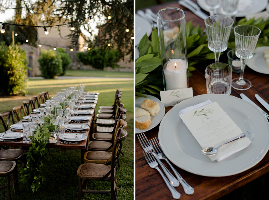 wedding tables in a garden in tuscany