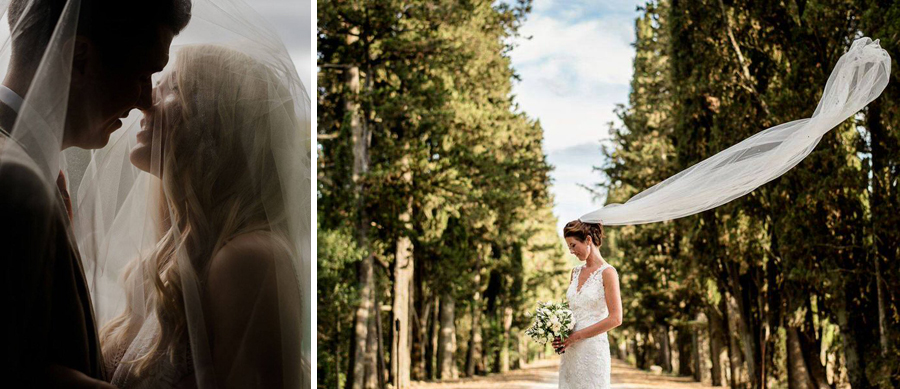 wedding couple shooted beneath the veil