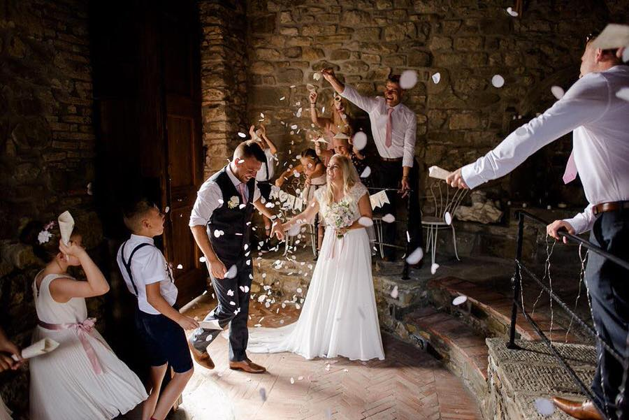 wedding celebration with toss of confetti