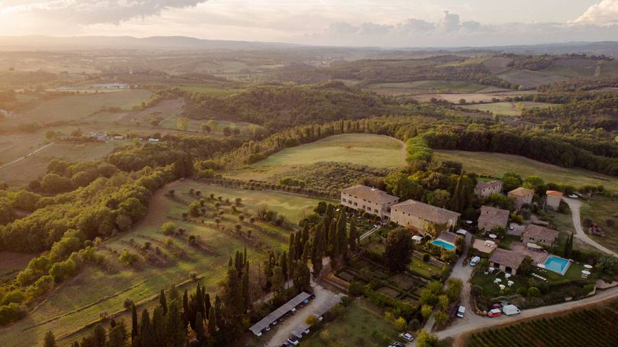 aerial shot of a wedding venue in tuscany