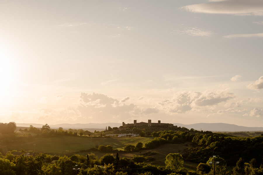 view of Monteriggioni from Borgo Stomennano, Siena