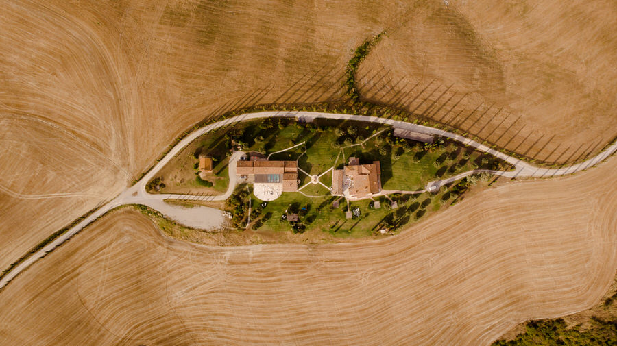 Podere Baccoleno Asciano Siena view from the drone