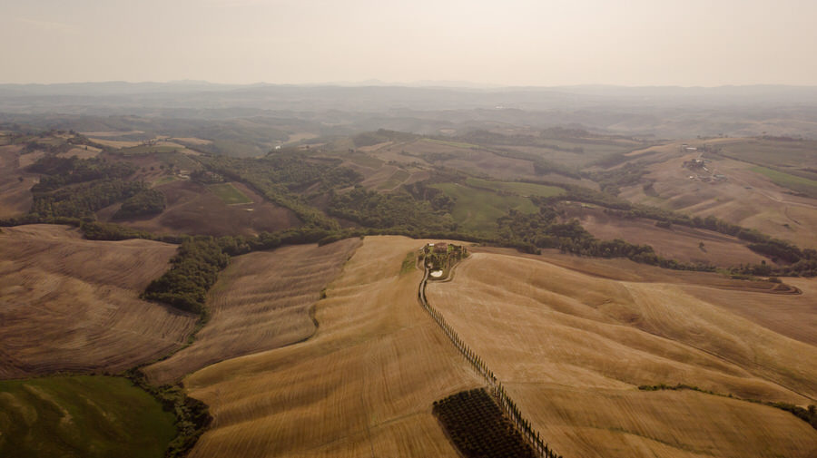 Podere Baccoleno Asciano Siena aerial photo