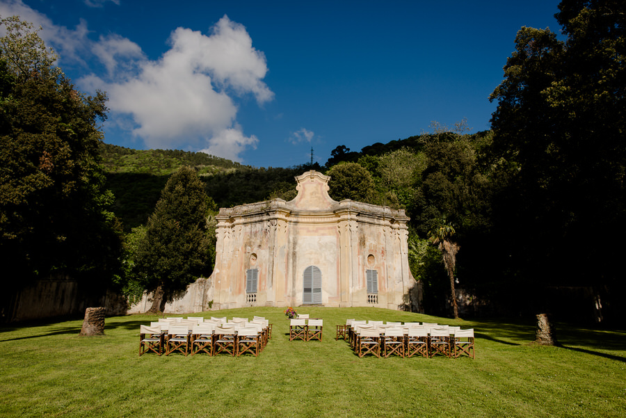 Ceremony setup in the garden at Villa di Corliano, San Giuliano Terme, Pisa