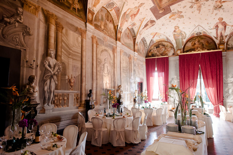 great hall for wedding dinner at Villa di Corliano, San Giuliano Terme, Pisa