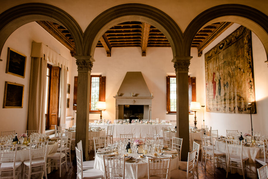 Big hall for dinner tables at Villa il Garofalo Florence