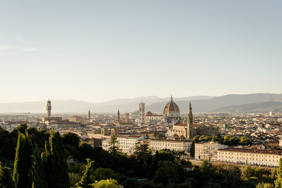view of Florence from the terrace of Villa La Vedetta
