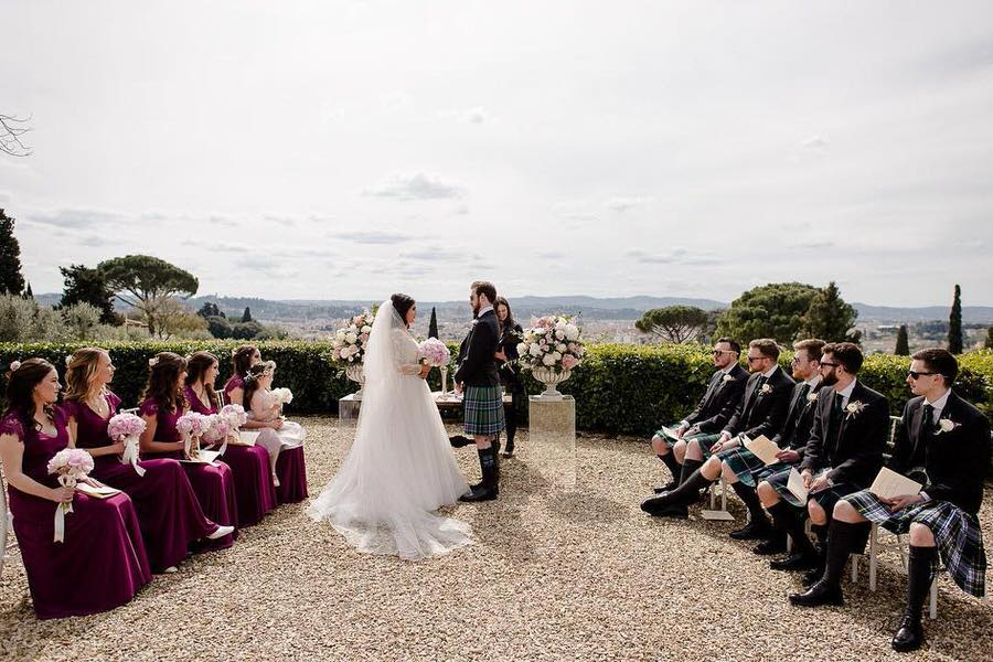 wedding ceremony with view of florence