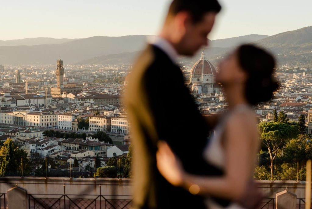 wedding couple with florence view as backdrop
