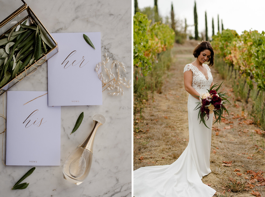 wedding autumn colors tuscany bride in a wineyard