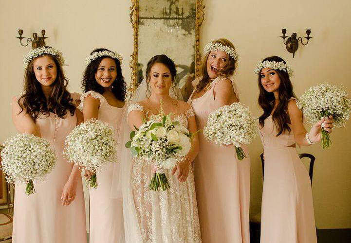 bride and bridesmaids wedding in tuscany
